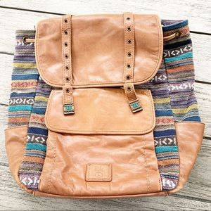 The SAK Boho Peace Leather Woven Backpack